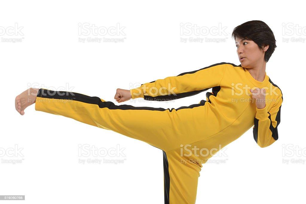 Kung Fu Kick stock photo