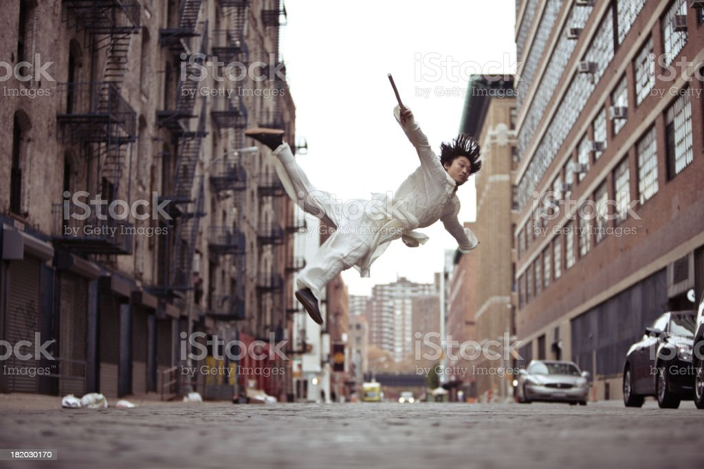 Kung fu martial artist doing a flying roundhouse kick stock photo