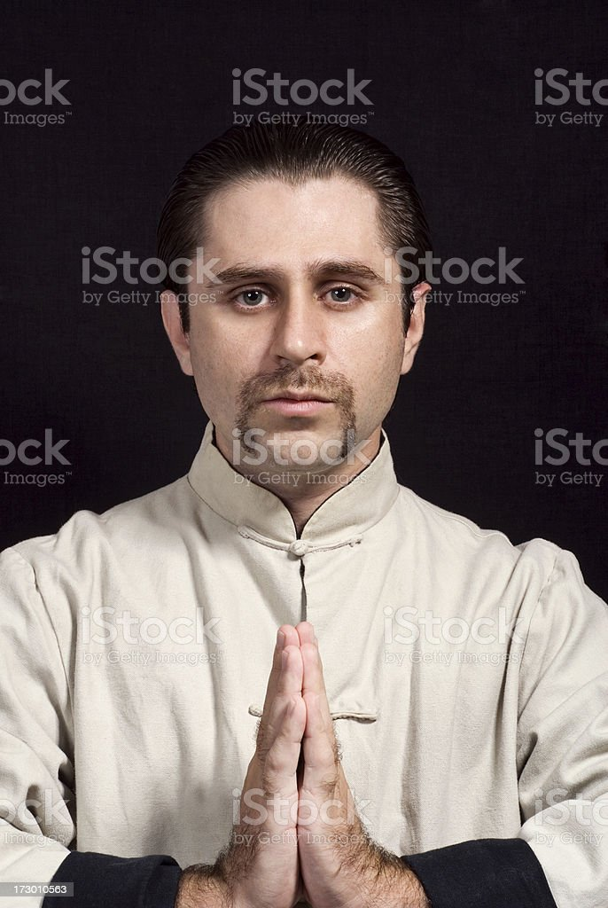 Kung Fu Master With Mustache stock photo