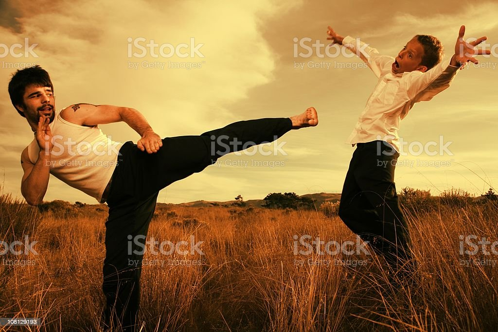 Kung Fu side kick royalty-free stock photo