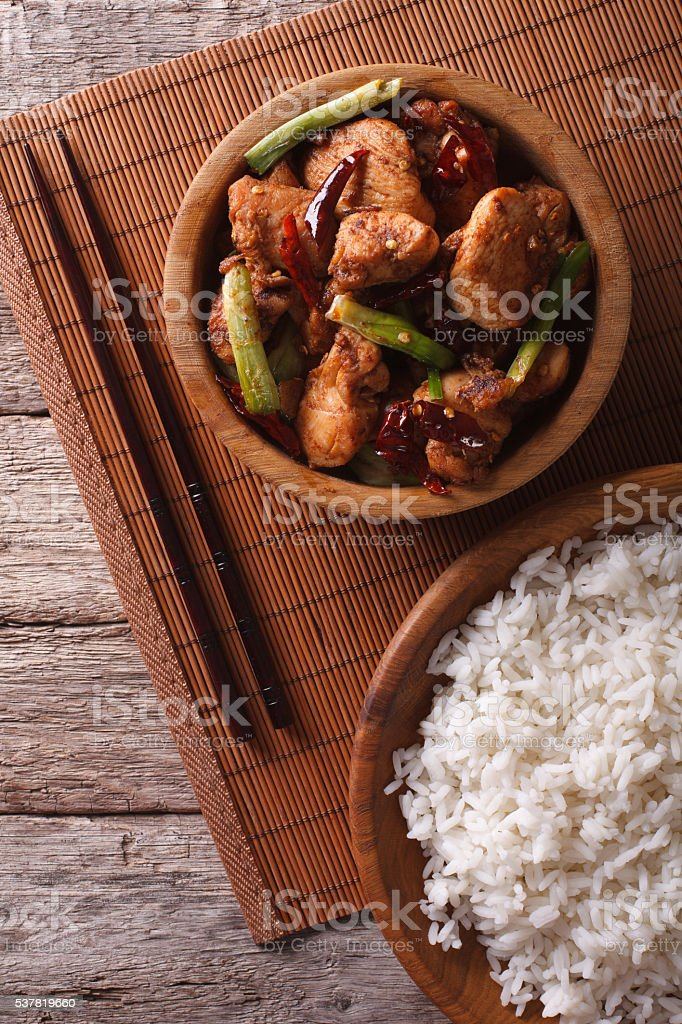 Kung pao chicken fillets close up. vertical top view stock photo