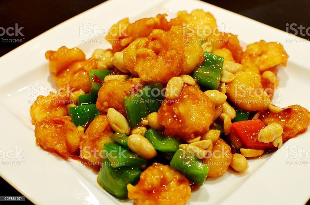 Kung Pao shrimps stock photo
