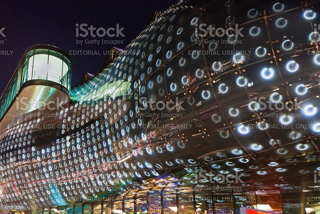 Kunsthaus Graz at night, Austria stock photo