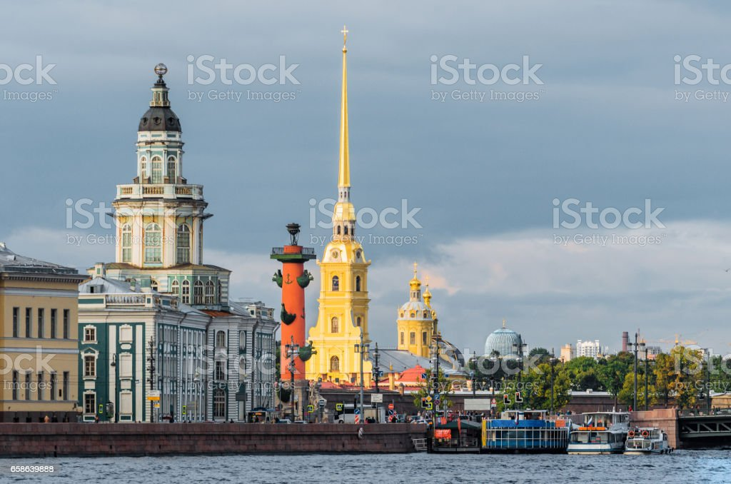 Kunstkammer, Rostral Columns, Peter and Paul Fortress St. Petersburg stock photo