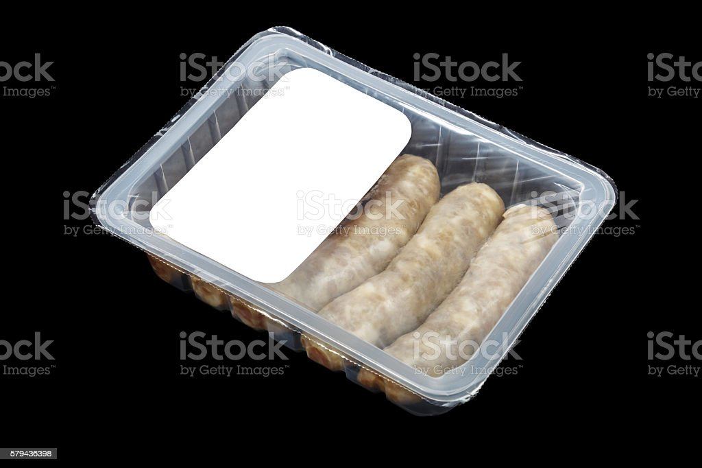 kupaty (bratwursts) in modified atmosphere packaging (MAP) stock photo
