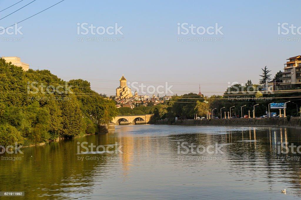 Kura river panorama of Tbilisi in Georgia stock photo