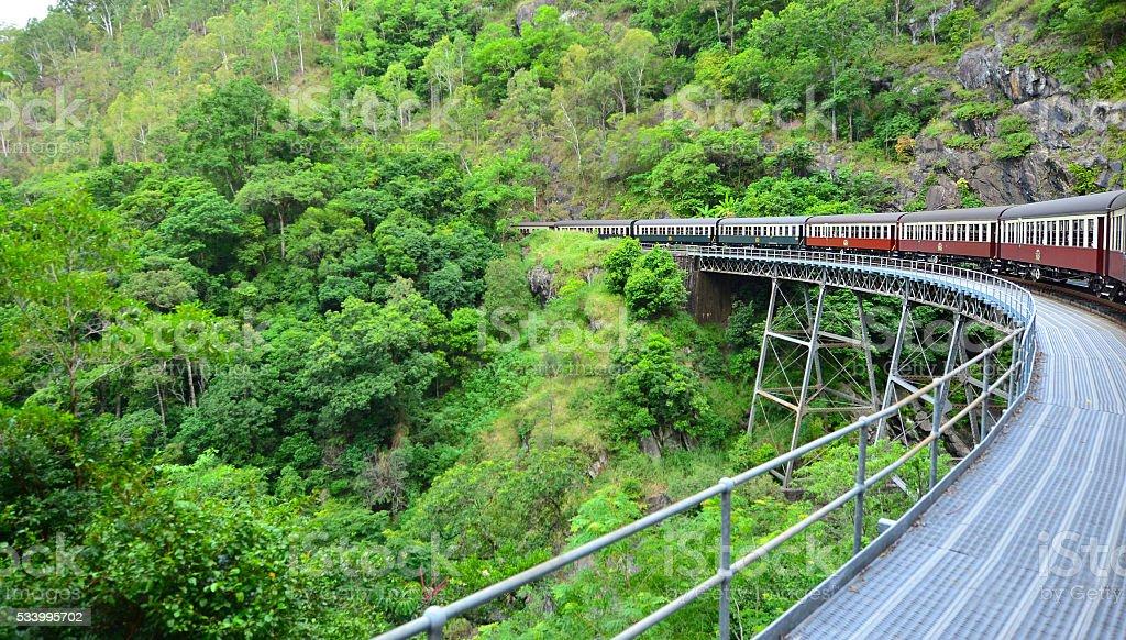 Kuranda Scenic Railway Rounding a bend in Queenland Australia stock photo