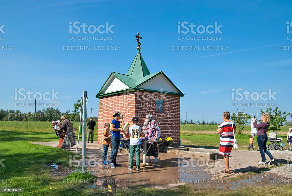 Kuremae, Estonia. Pilgrims near The Holy Spring stock photo