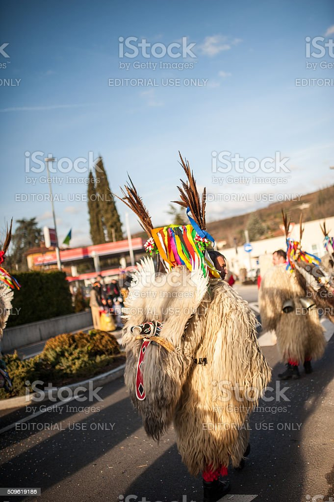 Kurent Procession on the Road, Slovenia, Europe stock photo