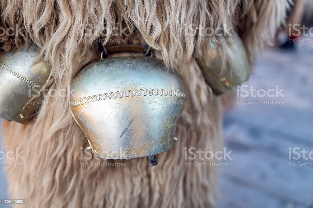 Kurent's cow bell, Slovenian traditional mask stock photo