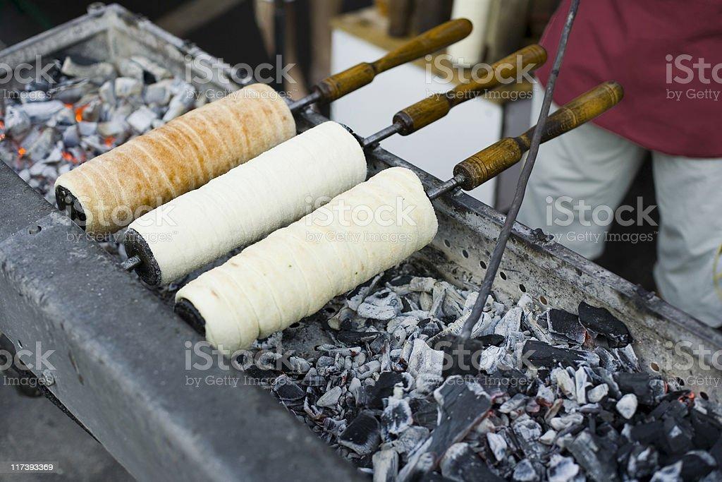 Kurtos Kalacs traditional Hungarian sweets stock photo