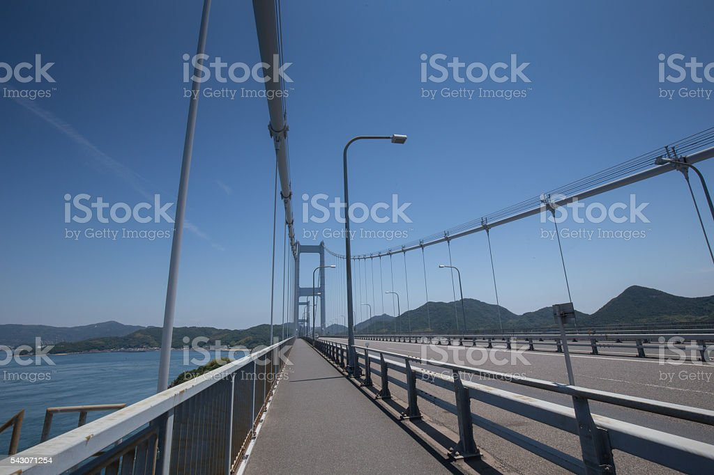 Kurushima Bridges in Seto Inland Sea, Japan stock photo