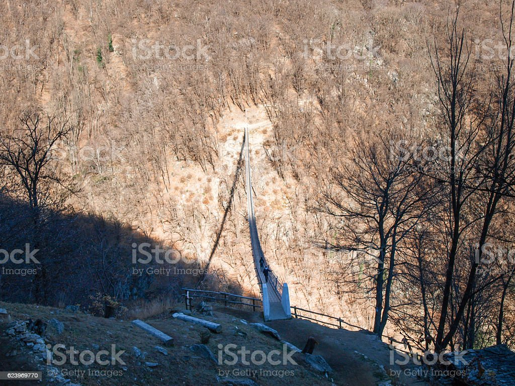 Kurzutt. Suspension bridge over the valley stock photo