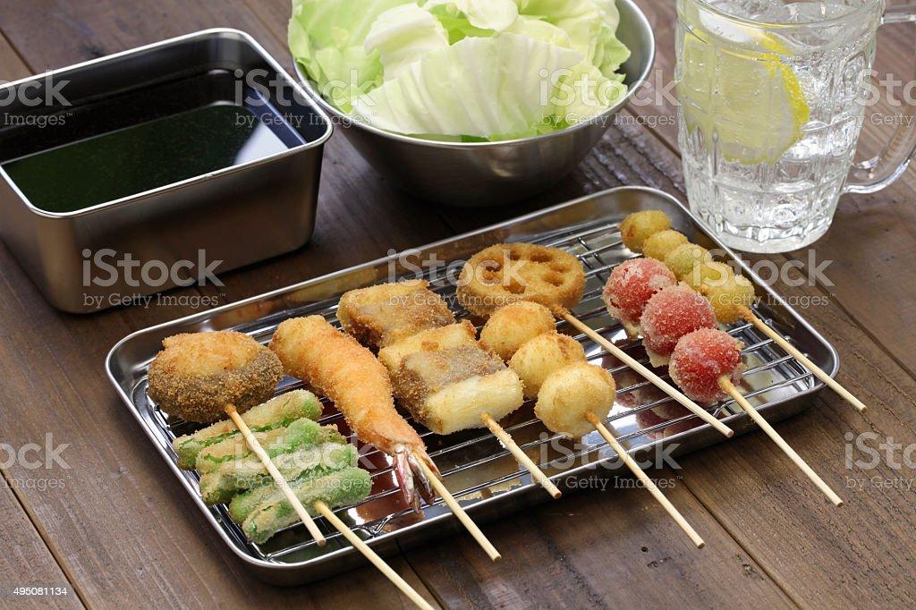 kushiage, japanese food stock photo