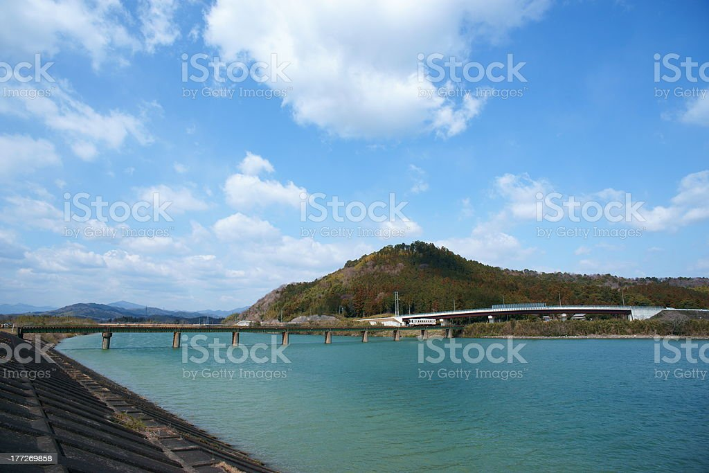 Kushidagawa River and Kiseihonsen Line stock photo