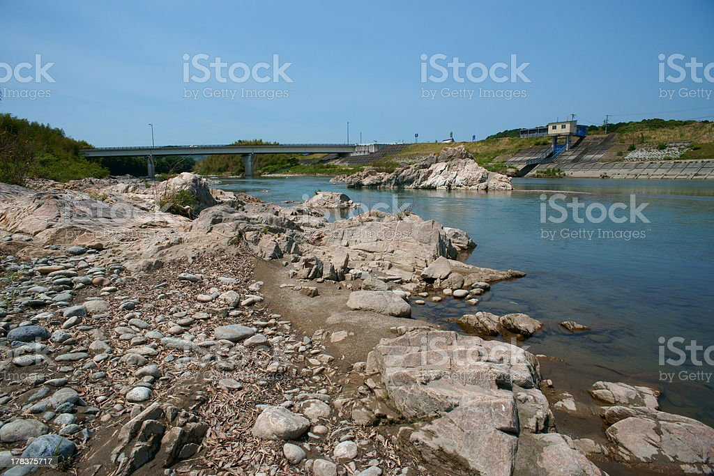Kushidagawa River and Kumanokaido Road stock photo