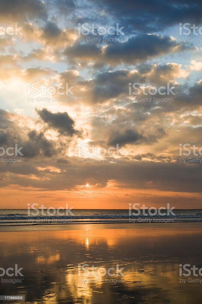 Kuta Beach on Bali at Sunset royalty-free stock photo