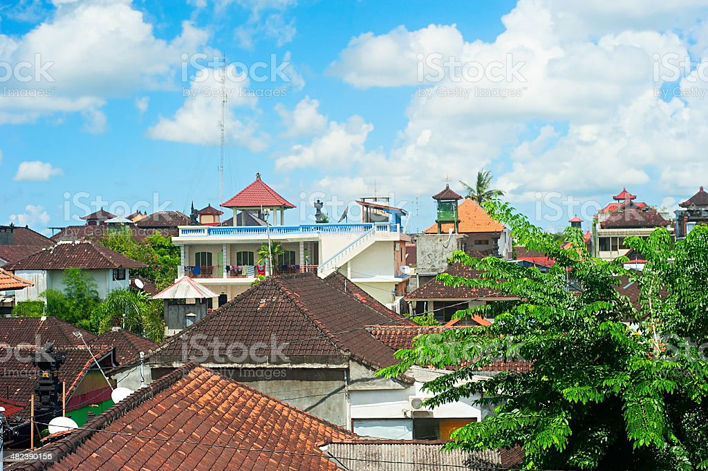 Kuta buildings, Bali stock photo