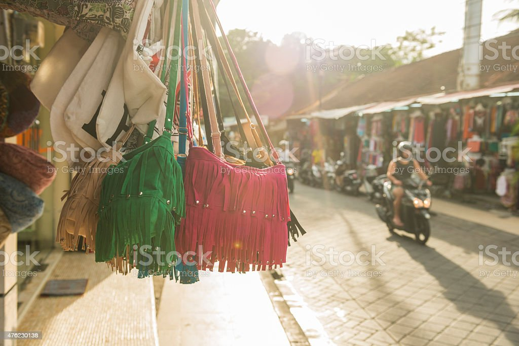 Kuta Business Sells Tourist Merchandise on Sunny Bali Street Indonesia stock photo