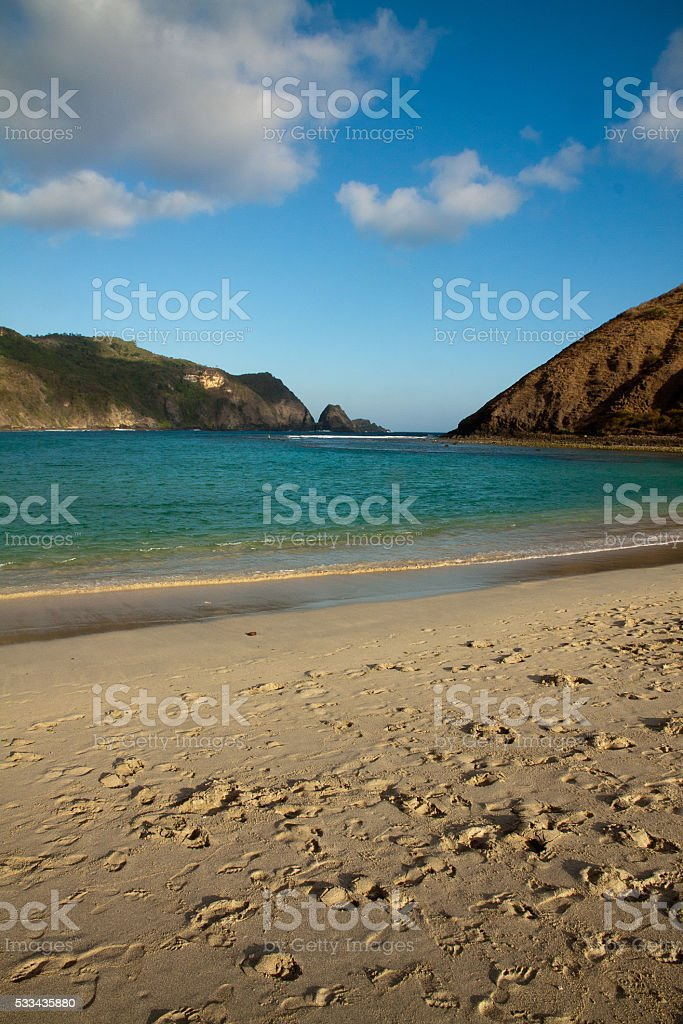 Kuta Lombok Mawun beach Indonesia stock photo