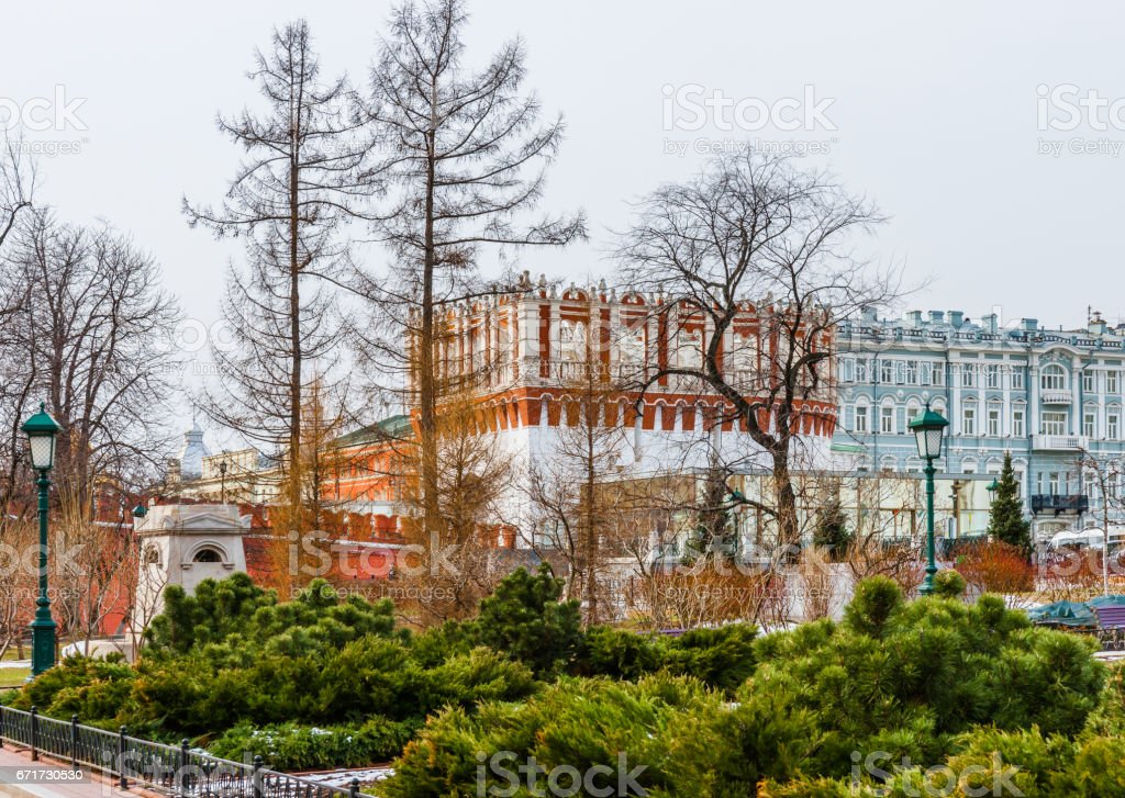 Kutafya tower of the Kremlin stock photo