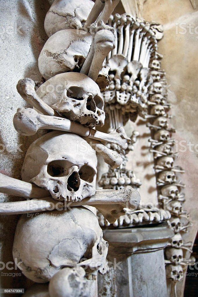 Kutna Hora, Kostnice - Bone Church, Human Skulls and Bones stock photo