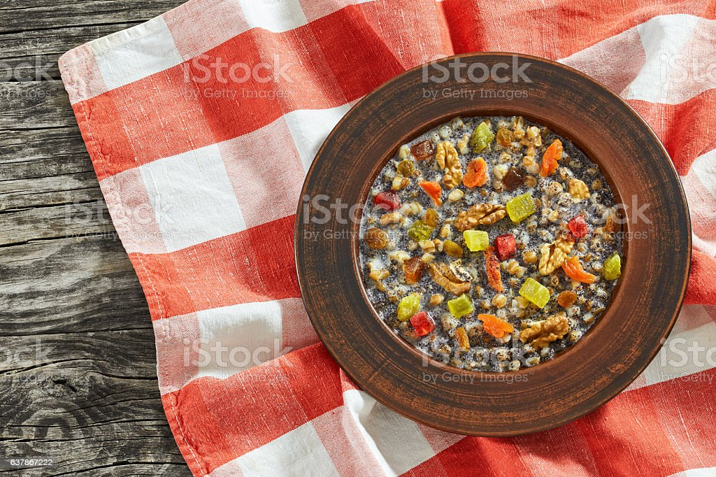 kutya or Sweet Wheat Berry Pudding, top view stock photo