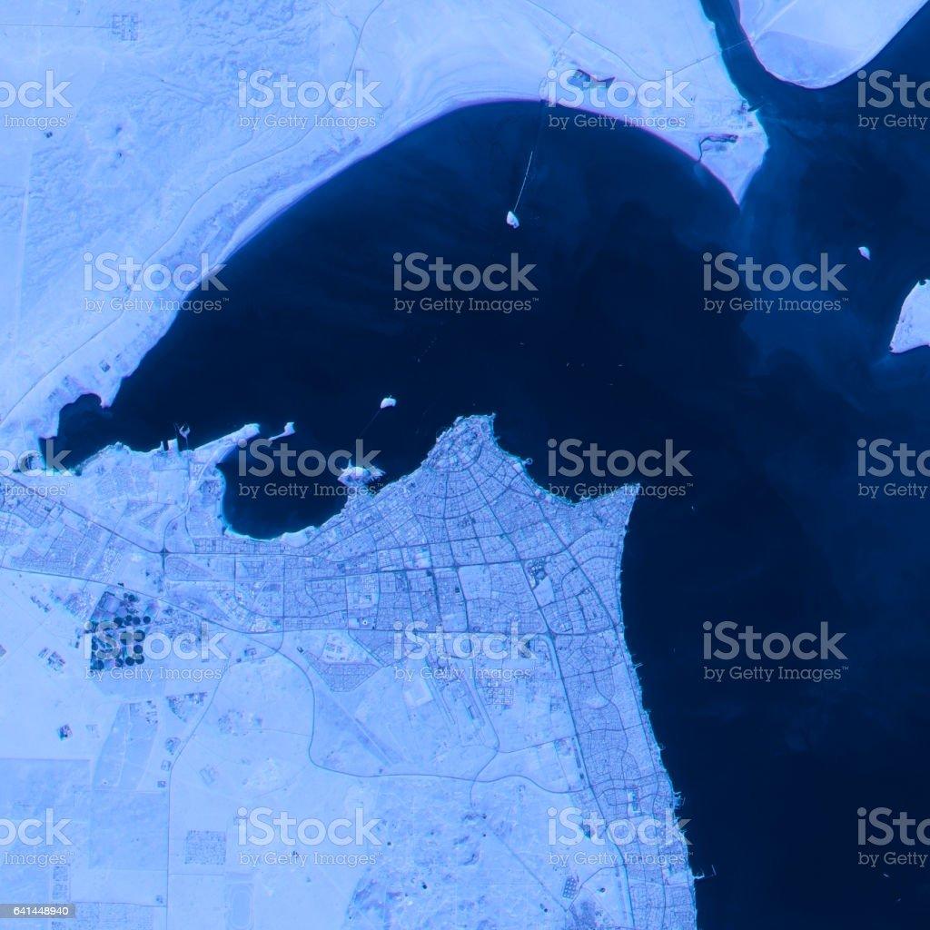 Kuwait Abstract City Map Satellite Image Blue stock photo