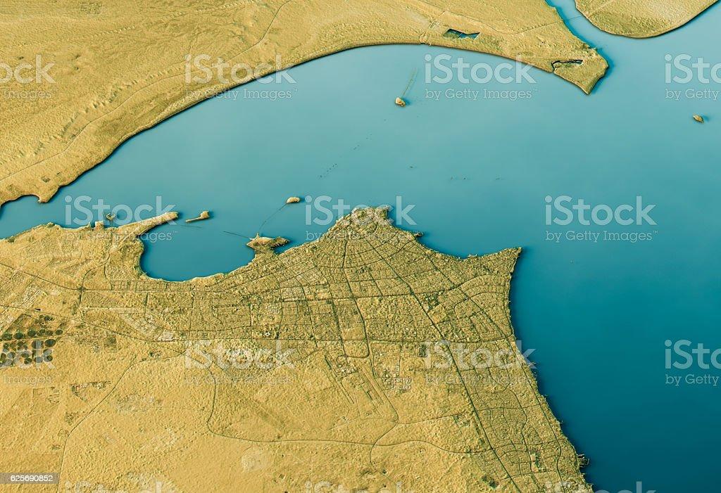 Kuwait City 3D Landscape View South-North Natural Color stock photo