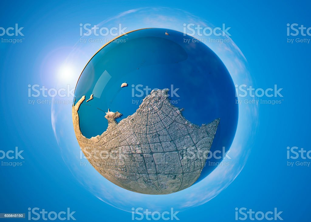 Kuwait City 3D Little Planet 360-Degree Sphere Panorama stock photo
