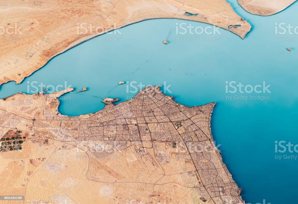Kuwait City 3D Render Satellite View Topographic Map Horizontal stock photo