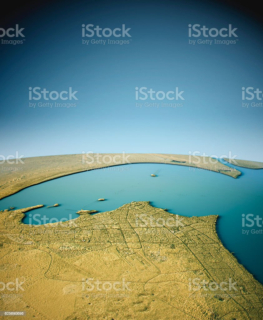 Kuwait City 3D View South-North Natural Color vector art illustration