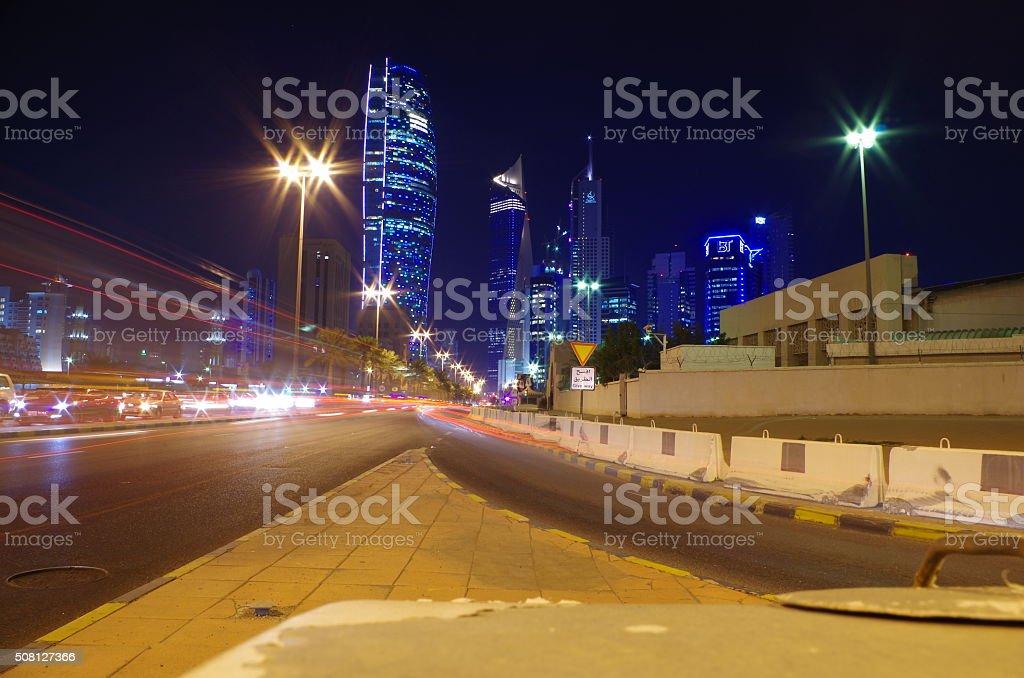 Kuwait City at night stock photo