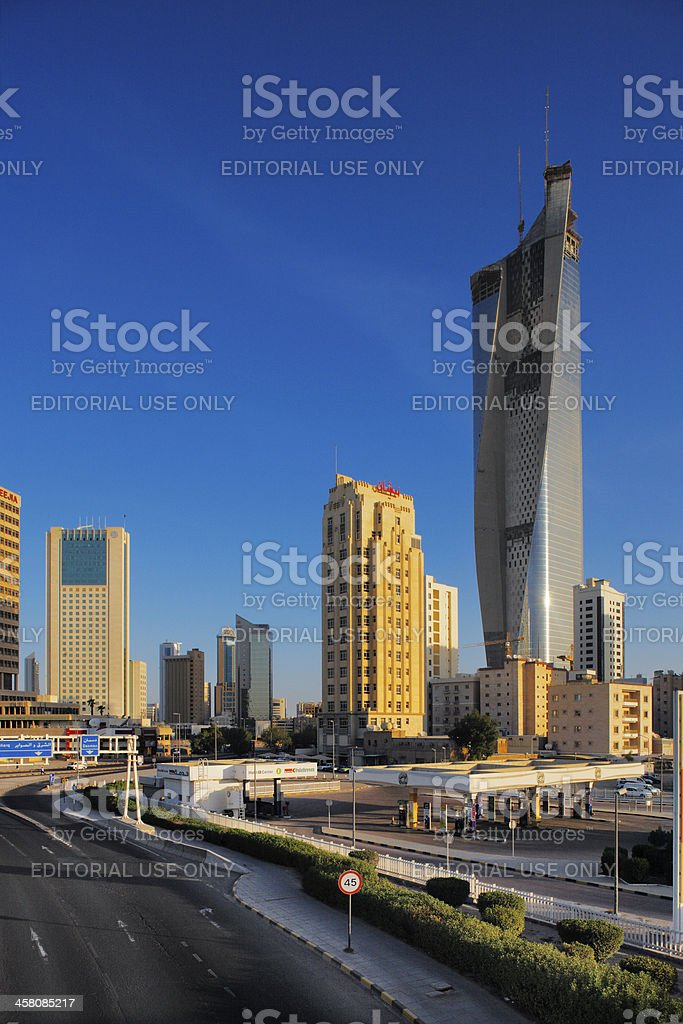 Kuwait City Skyline is rapidly becoming populated by skyscrapers stock photo