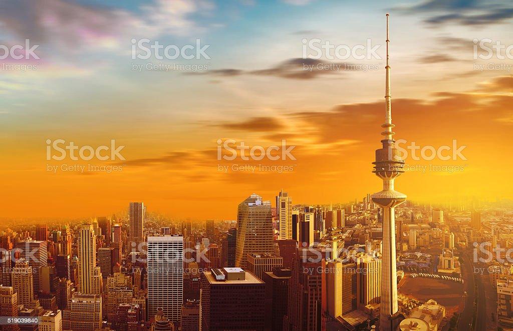 Kuwait city skyline stock photo