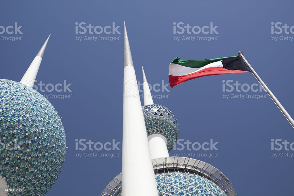Kuwait Flag and Towers stock photo