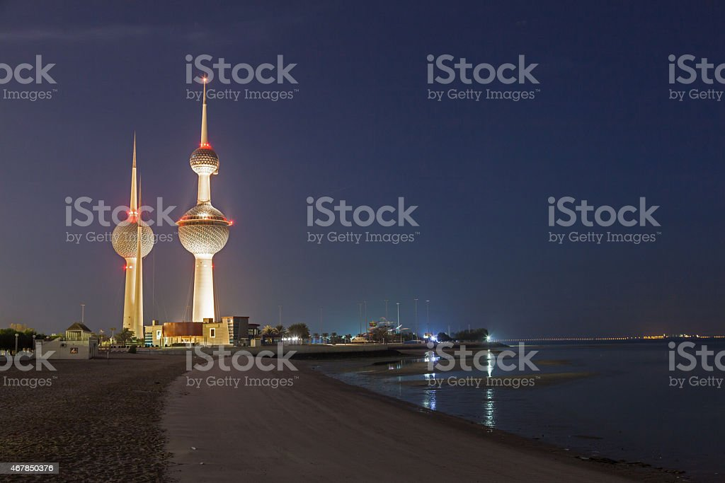 Kuwait Towers at night stock photo