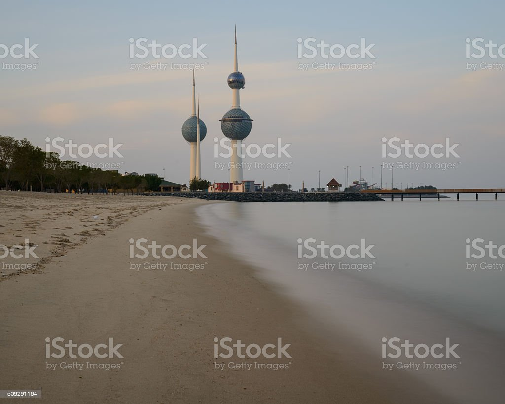Kuwait Towers from the beach stock photo