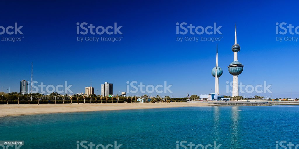 Kuwait Towers from the PIer stock photo