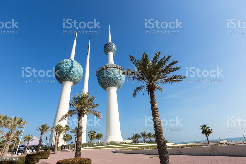 Kuwait Towers with palms stock photo