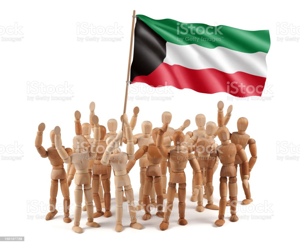 Kuwait - wooden mannequin group with flag royalty-free stock photo
