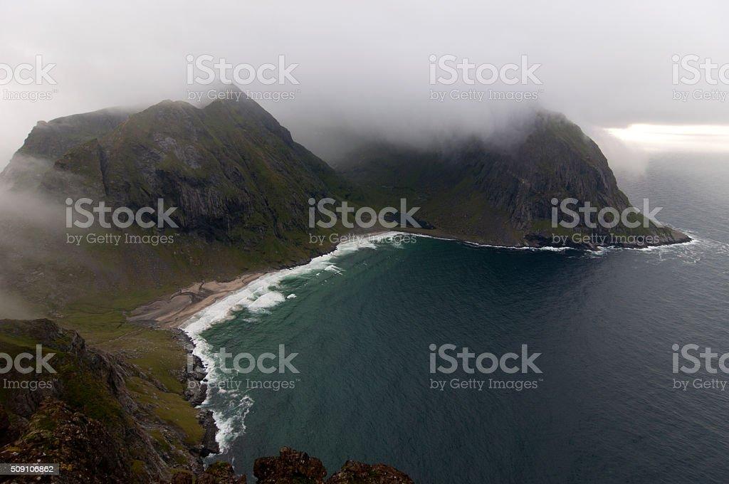 Kvalvika beach, Lofoten islands, Norway stock photo
