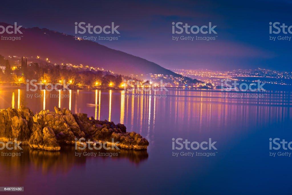 Kvarner bay evening view in Opatija, coastline of Croatia stock photo
