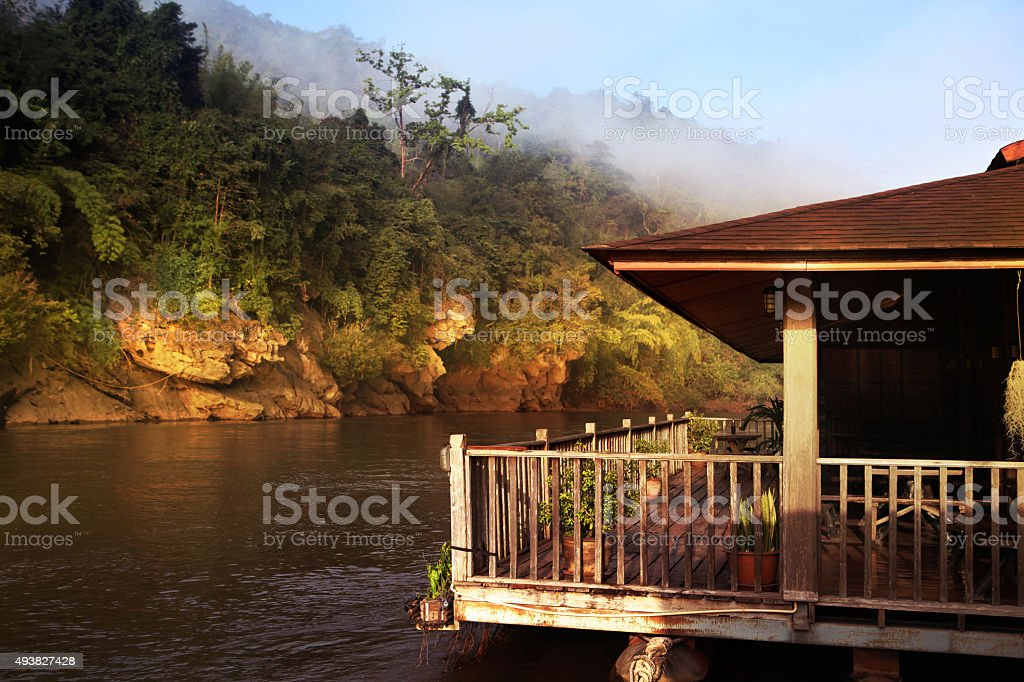 Kwai river in Thailand at morning stock photo