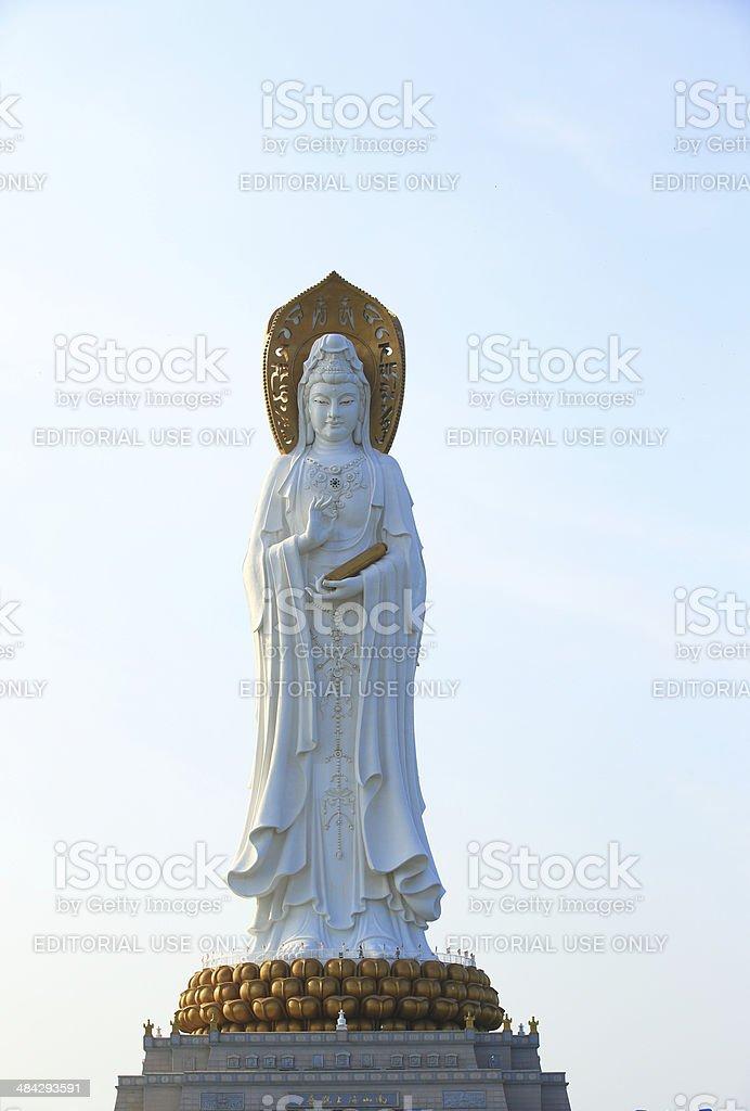 kwan-yin statue in hainan island stock photo