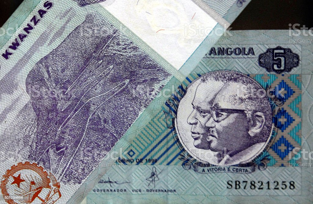 Kwanza - the currency of Angola stock photo