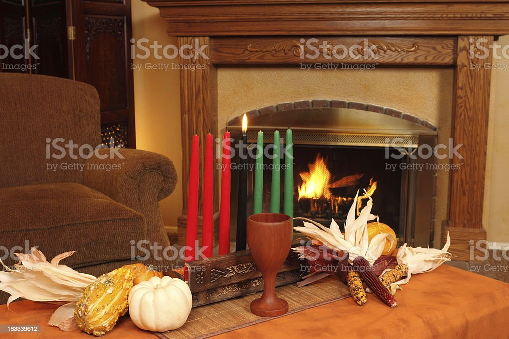 Kwanzaa Candles By Fireplace Horizontal stock photo