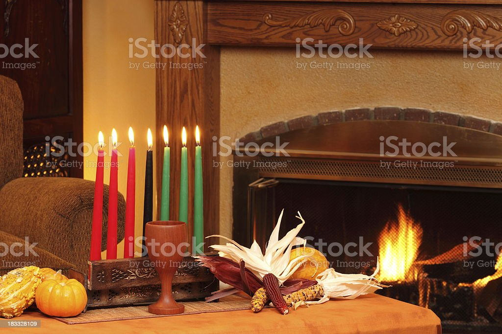 Kwanzaa Candles By Fireplace Left Horizontal royalty-free stock photo