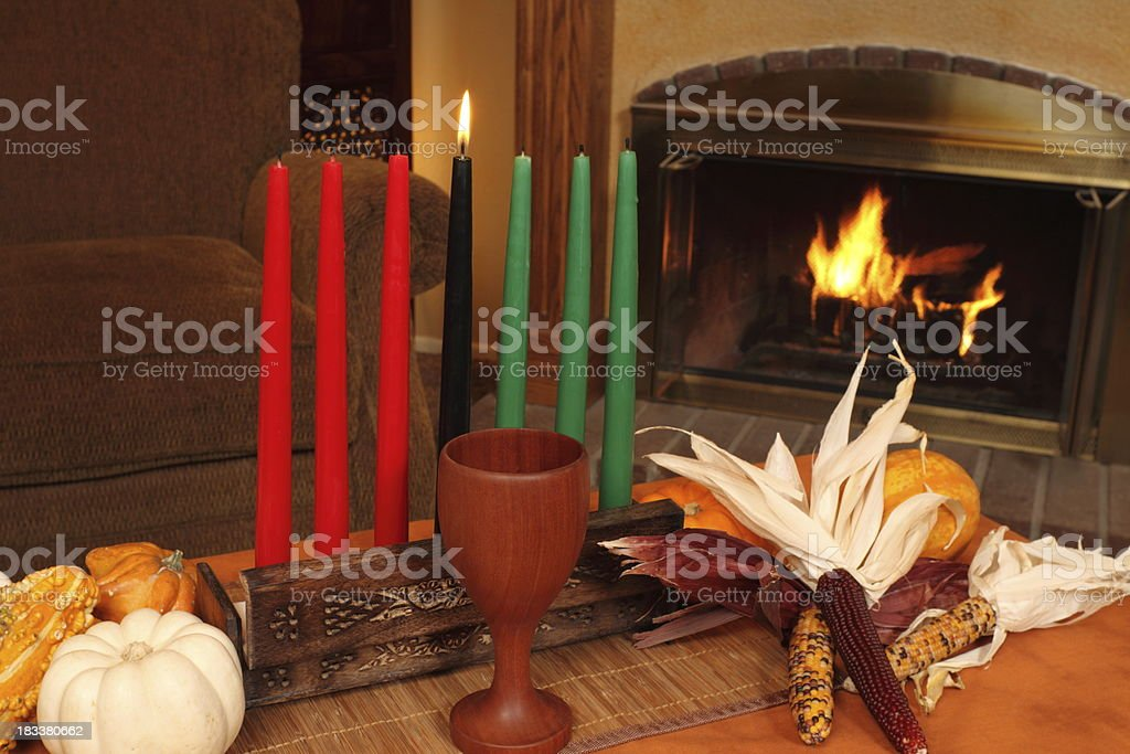 Kwanzaa Candles By Fireplace Medium Horizontal stock photo