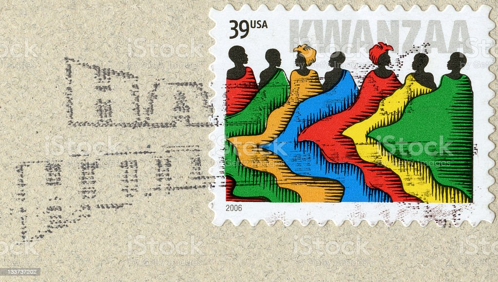 Kwanzaa Holiday Postage Stamp stock photo